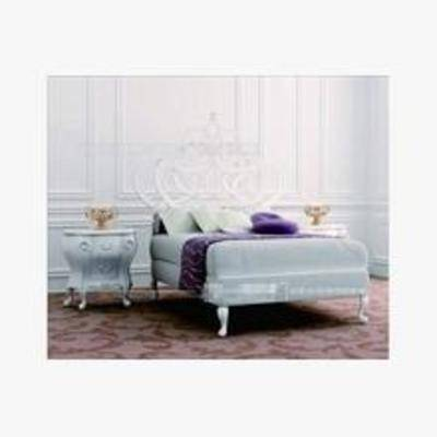 简约床, 平板床, 床3d模型下载, 床, 简欧