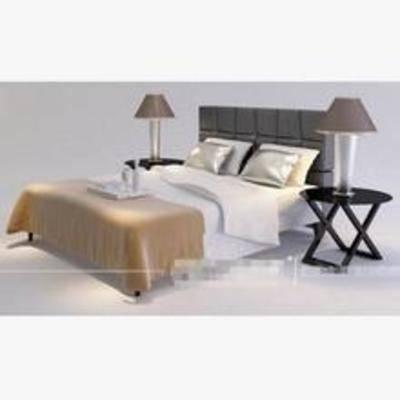 现代床, 平板床, 床3d模型下载, 床