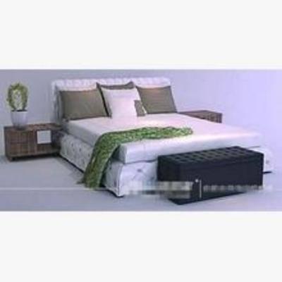 现代床, 平板床, 床3d模型下载, 床, 双人床