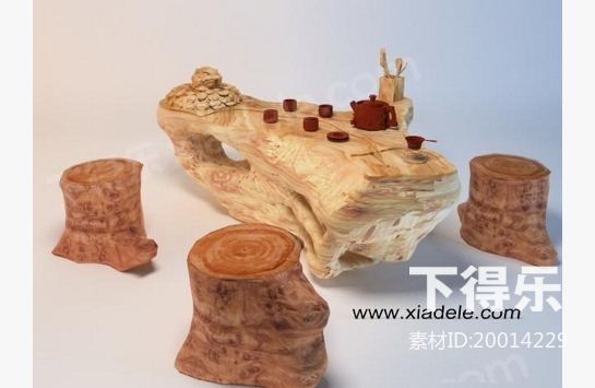 中式木质根雕茶几 3d模型下载