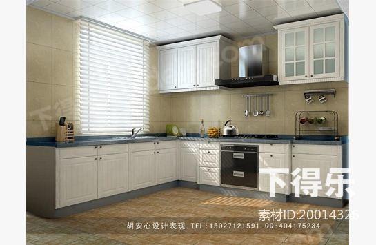 欧式木质L型厨柜 3D模型下载,橱柜