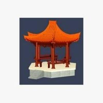 3D模型, 凉亭, 中式