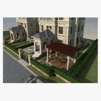 欧式, 建筑, 住宅, 别墅