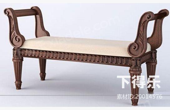 中式木质长凳子 3d模型下载
