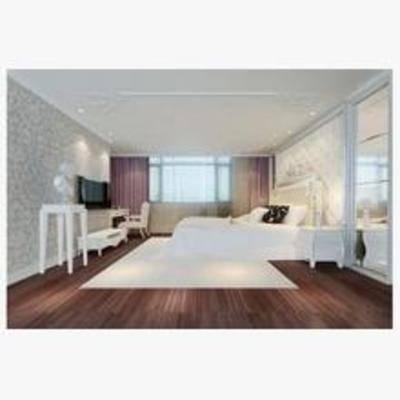 简欧, 卧室, 电视柜, 床, 地毯, 窗帘, 边几