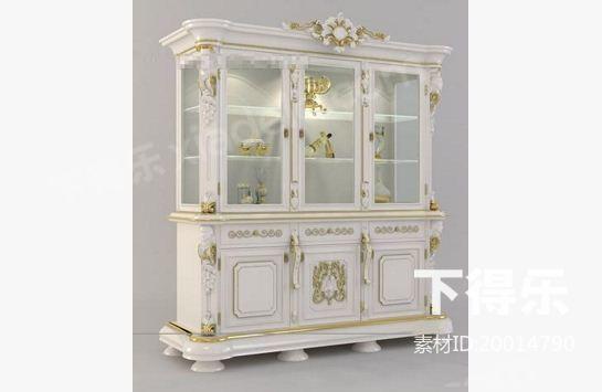 欧式木质酒柜 3d模型下载