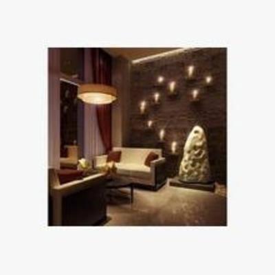 简欧, 休闲, 吊灯, 窗帘, 沙发椅, 墙饰, 雕塑