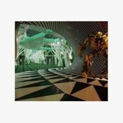现代, 展示台, 走廊, 摆件