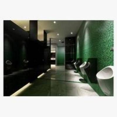 现代, 工装, 洗手间, 吸顶灯