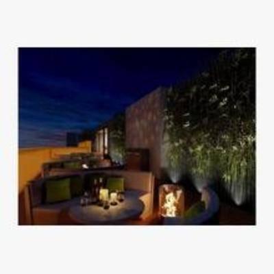 北欧, 休闲吧, 盆栽, 单椅, 餐桌, 壁灯