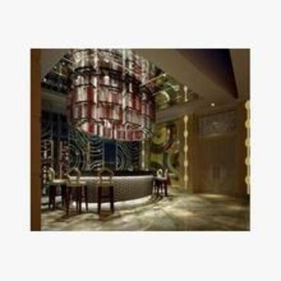 欧式, 酒吧, 吧台, 吧椅, 吊灯