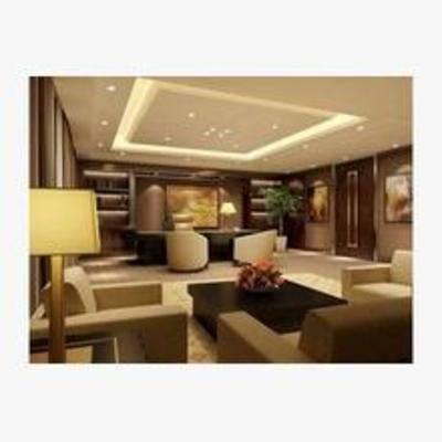 现代, 办公室, 沙发, 茶几, 台灯, 书桌, 椅子, 盆栽, 挂画