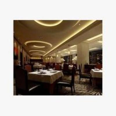 现代, 餐厅, 餐桌, 椅子, 灯, 挂画