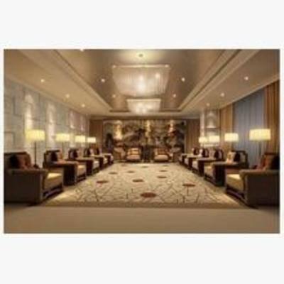 新中式, 沙发, 茶几, 台灯