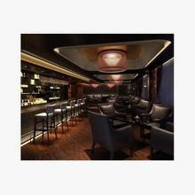 新古典, 酒吧, 吧台, 吧椅, 吊灯, 沙发椅