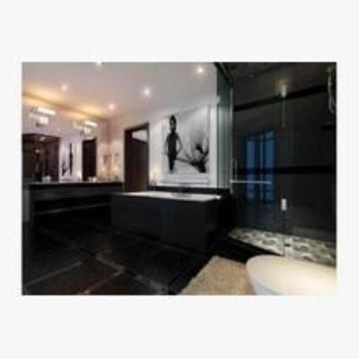 现代, 洗手间, 浴缸, 吸顶灯
