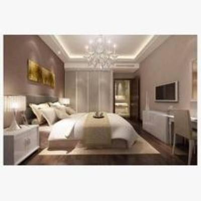 简欧, 卧室, 吊灯, 挂画, 电视柜, 地毯, 床, 床头柜, 台灯