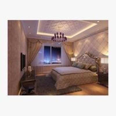 欧式, 卧室, 窗帘, 床, 地毯, 床头柜, 台灯, 电视柜, 吊灯