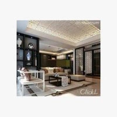 新中式, 客厅, 置物架, 沙发, 摆件