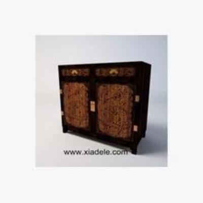 木质柜子, 中式柜子, 柜子, 中式边柜, 边柜