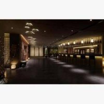日式, 酒吧, 吧椅, 吧台, 吸顶灯, 吊灯, 盆栽
