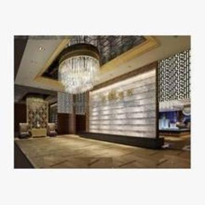 新中式, 售楼处前台, 吊灯, 墙饰, 吸顶灯, 展厅