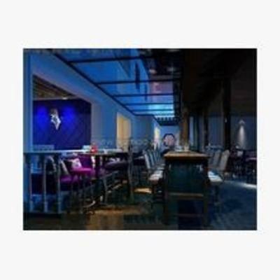 欧式, 酒吧, 吧台, 吧椅, 壁灯