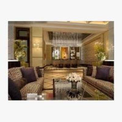 欧式, 酒吧, 沙发, 桌几, 花瓶, 吊灯, 盆栽