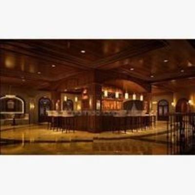 新古典, 酒吧', 吧台, 吧椅, 吊灯, 吸顶灯