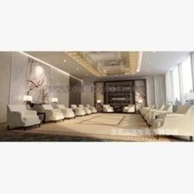 现代, 沙发, 茶几, 壁画, 吊灯