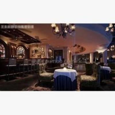 欧式, 酒吧, 吊灯, 单椅, 餐桌, 吧台, 吧椅
