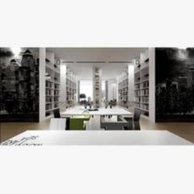 现代, 书桌, 椅子, 书架