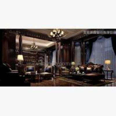 法式, 酒吧, 沙发, 吊灯, 地毯, 窗帘