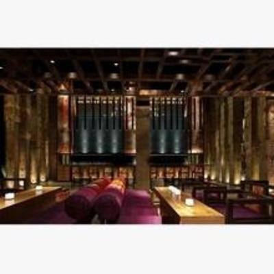 中式, 酒吧, 单椅, 餐桌, 吊灯, 吸顶灯
