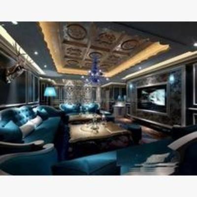 ktv, 简欧, 沙发, 桌几, 墙饰, 吊灯, 挂画, 地毯