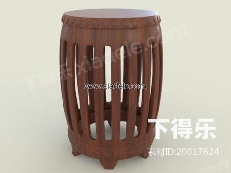 中式木质圆凳子 3d模型下载