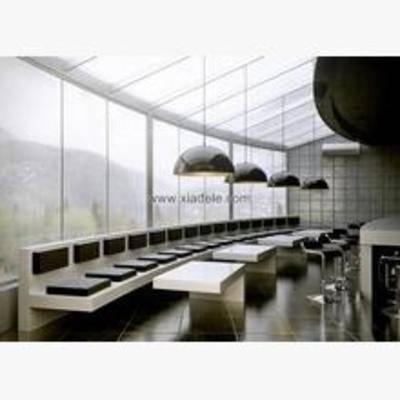 现代, 餐厅, 餐桌, 椅子, 吊灯