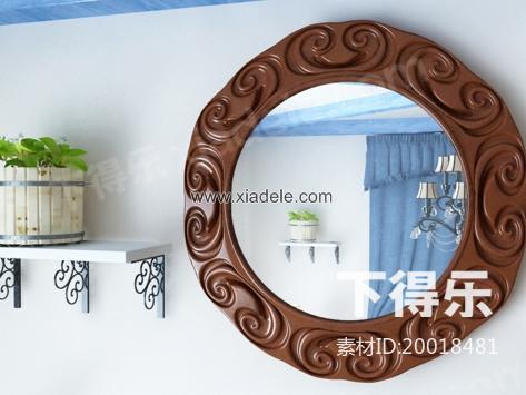 欧式木质镜子 3d模型下载