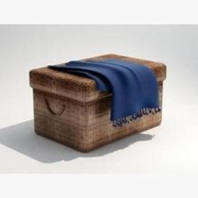 围巾, 箱, 藤, 摆设, 布, 装饰