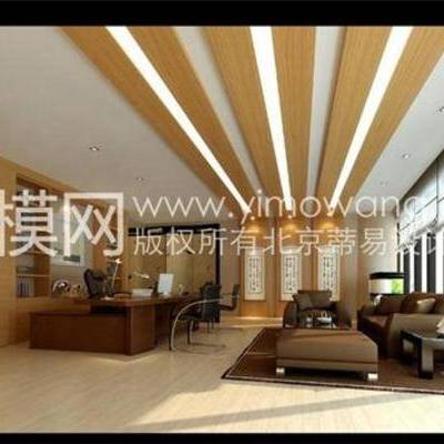 老总室, 新中式, 沙发, 茶几, 书桌, 椅子