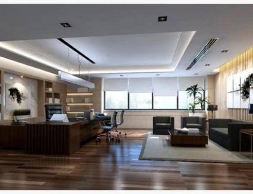 现代, 会议室, 沙发, 地毯, 办公桌, 窗帘