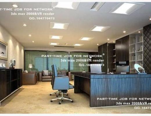现代, 办公室, 单椅, 办公桌, 挂画, 台灯