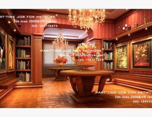 现代, 吊灯, 挂画, 摆件, 书架
