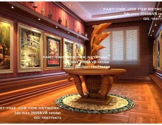 新中式, 摆件, 挂画, 艺术馆