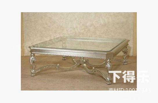 欧式金属玻璃方茶几 3d模型下载