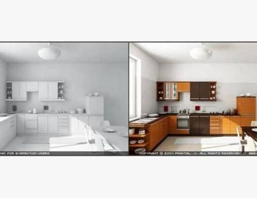 现代, 厨具, 橱柜, 厨房, 灶台, 料理台