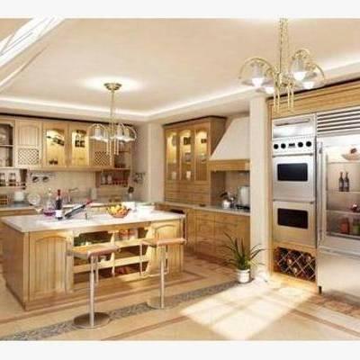 美式, 厨具, 橱柜, 厨房, 吊灯, 灶台, 料理台, 餐桌, 椅子