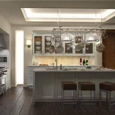 法式, 厨具, 厨房, 橱柜, 灶台, 料理台, 餐桌, 椅子, 吊灯
