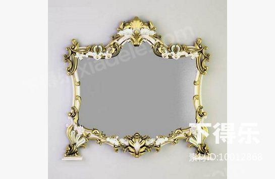 欧式金属镜子 3d模型下载