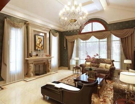 美式, 客厅, 吊灯, 沙发, 摆件
